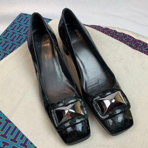 Stuart Weitzman Patent Block Heeled Loafer 9N